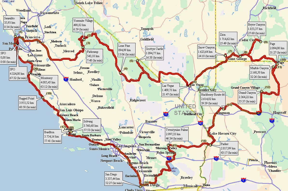 Karte Usa Westen.Reiseroute 2006