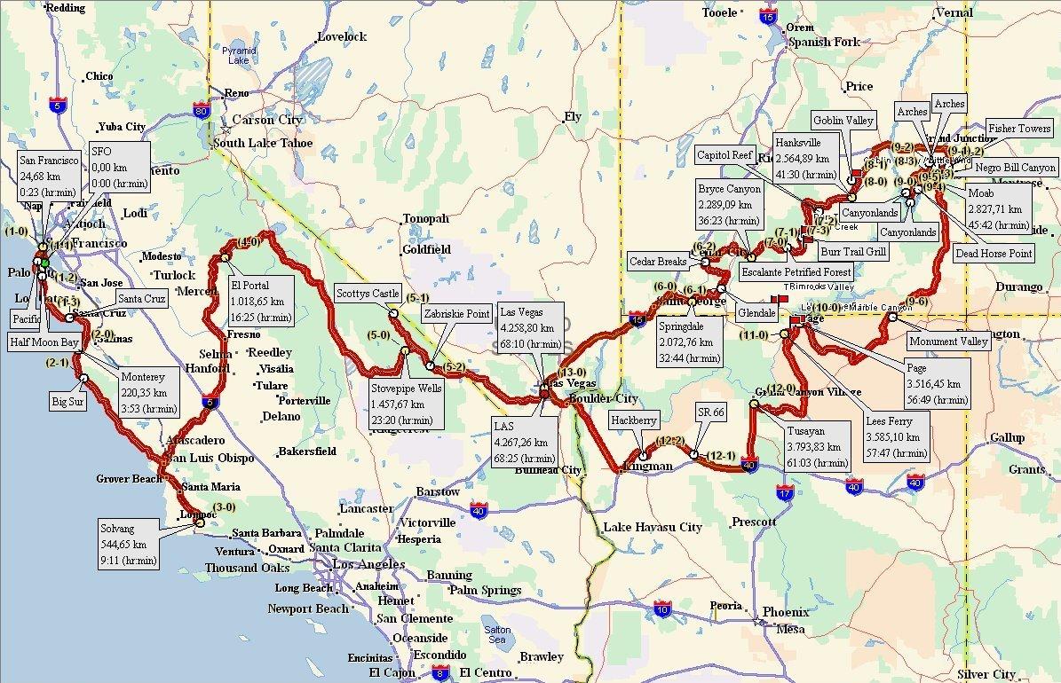 Karte Usa Westen.Reiseroute 2010