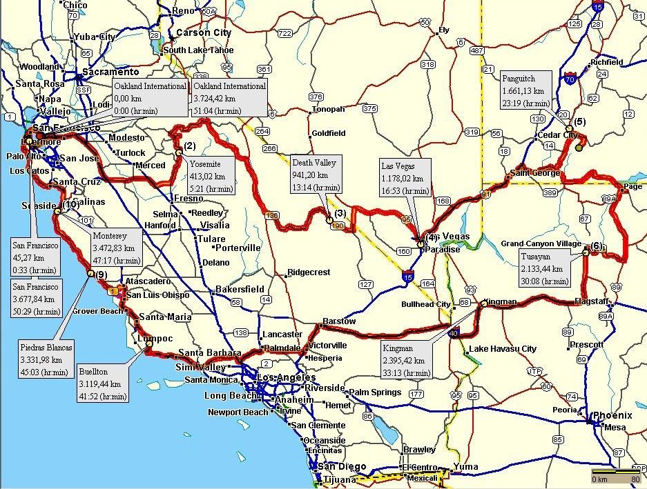 Karte Usa Westen.Reiseroute 2000 Von Stefan Kremer